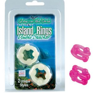 SE1437-04-2 California Exotics Silicone Island Rings Double Stacker Pink