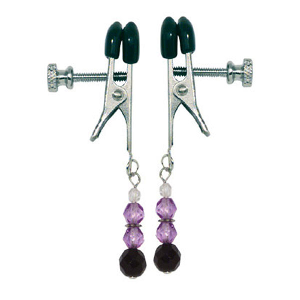 70093 Spartacus Nipple Clamps with Purple Colored Beads SPF-103