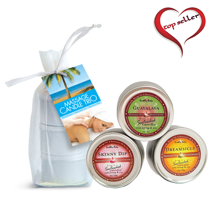 EB2200  Earthly Body Trio Scented Massage CandlesThree 2 oz. Massage Candles