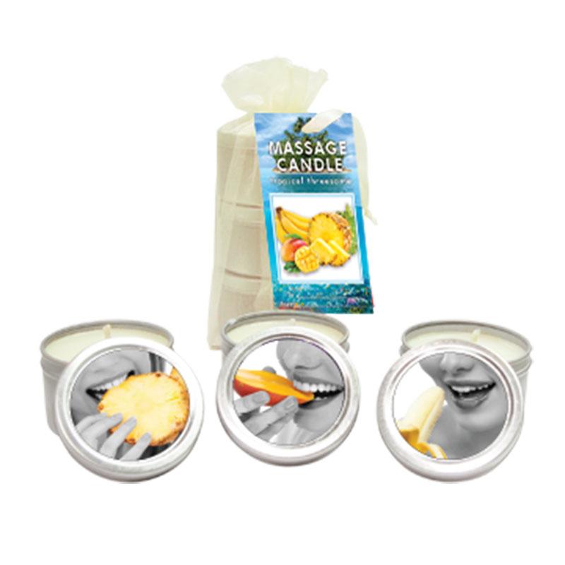 EB2210 Earthly Body Tropical Trio (3) 2 oz. Massage Candles Mango, Banana & Pineapple