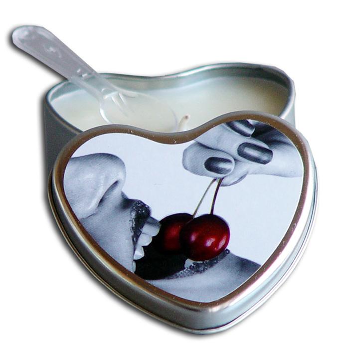 EB3000  Earthly Body 4.7 oz. Heart Tin Edible Massage CandleCherry