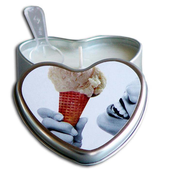 EB3001  Earthly Body 4.7 oz. Heart Tin Edible Massage CandleVanilla