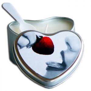 EB3002  Earthly Body 4.7 oz. Heart Tin Edible Massage CandleStrawberry
