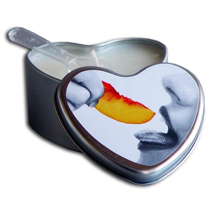 EB3004  Earthly Body 4.7 oz. Heart Tin Edible Massage CandlePeach
