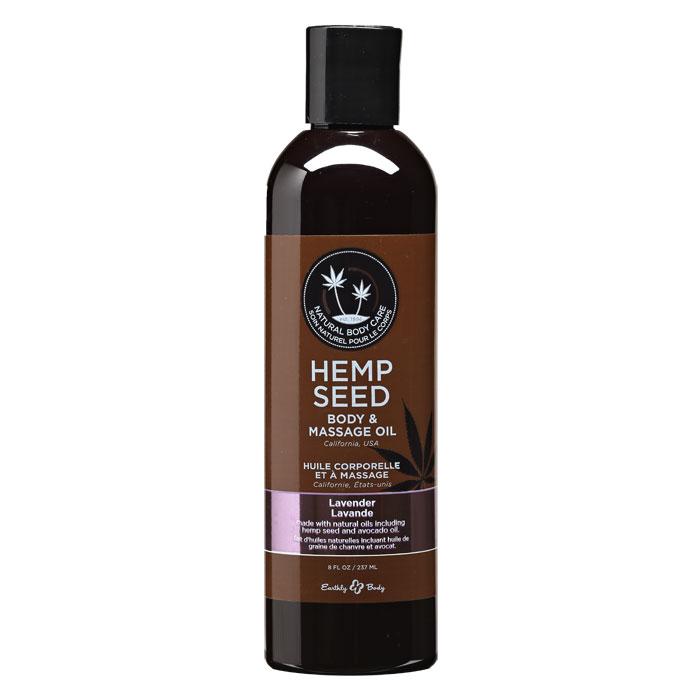 EB4002  Earthly Body 8 oz. Hemp Seed Massage Oil Lavender