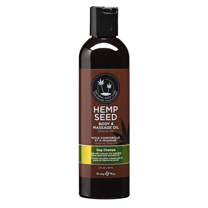 EB4007  Earthly Body 8 oz. Hemp Seed Massage OilNag Champa