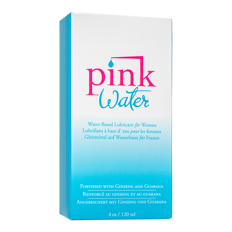 EM1409 Empowered Products Pink 4 oz Water Based Lube Glass Bottle (Unicarton)
