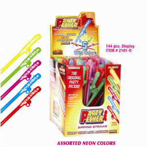 HP2101 Hott Products Assorted Neon Colors Party Pecker Sipping Straws Box of 144