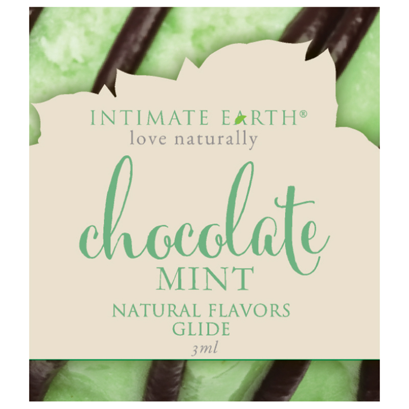 INT036F Intimate Earth3 ml Flavored Lubricant Pouch Chocolate Mint