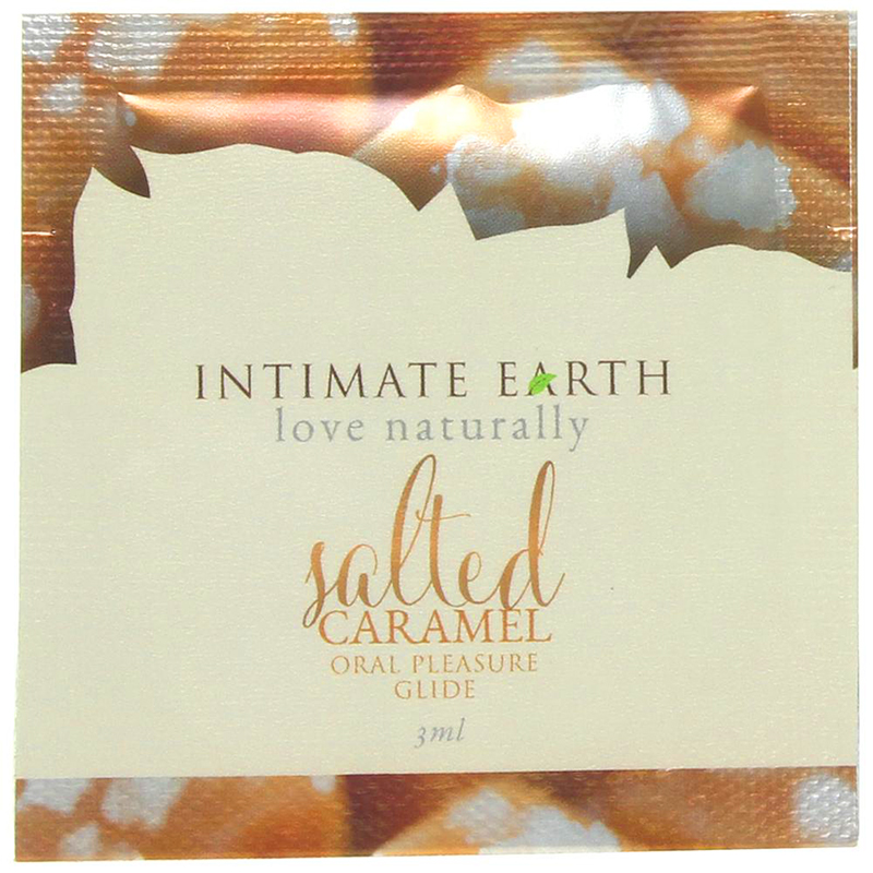 INT038F Intimate Earth3 ml Flavored Lubricant Pouch Salted Caramel
