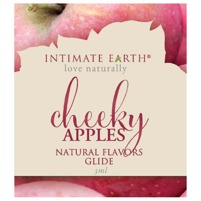 INT041F Intimate Earth3 ml Flavored Lubricant Pouch Cheeky Apples
