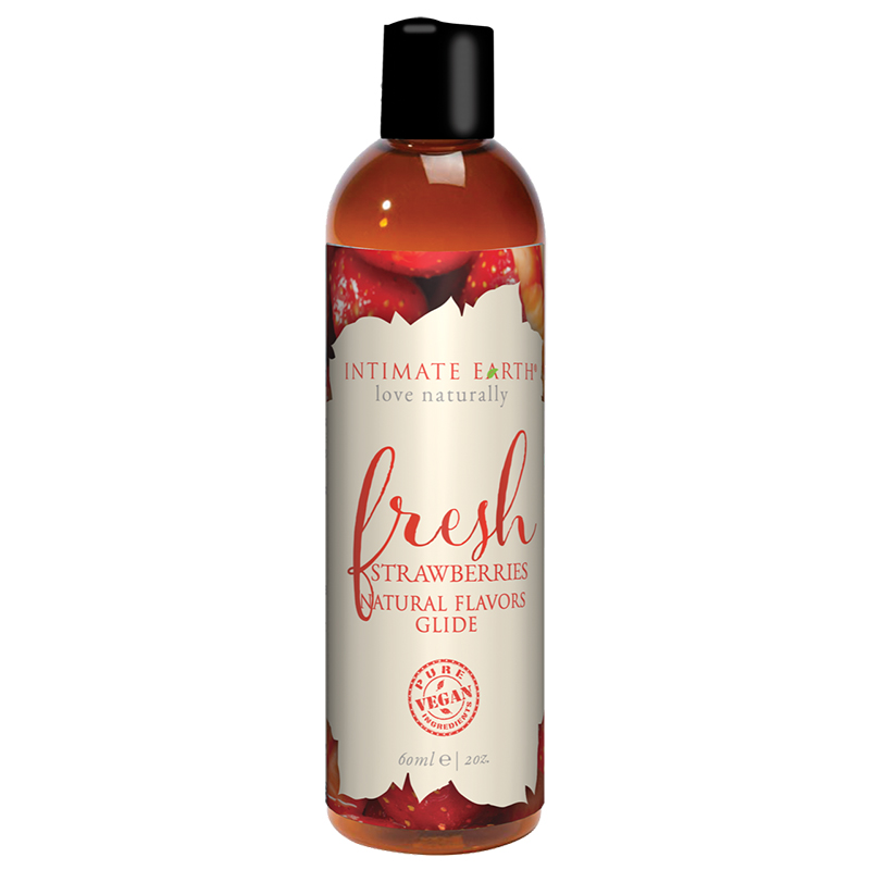 INT042-60IE Intimate Earth 60 ml Flavored Lubricant Fresh Strawberries
