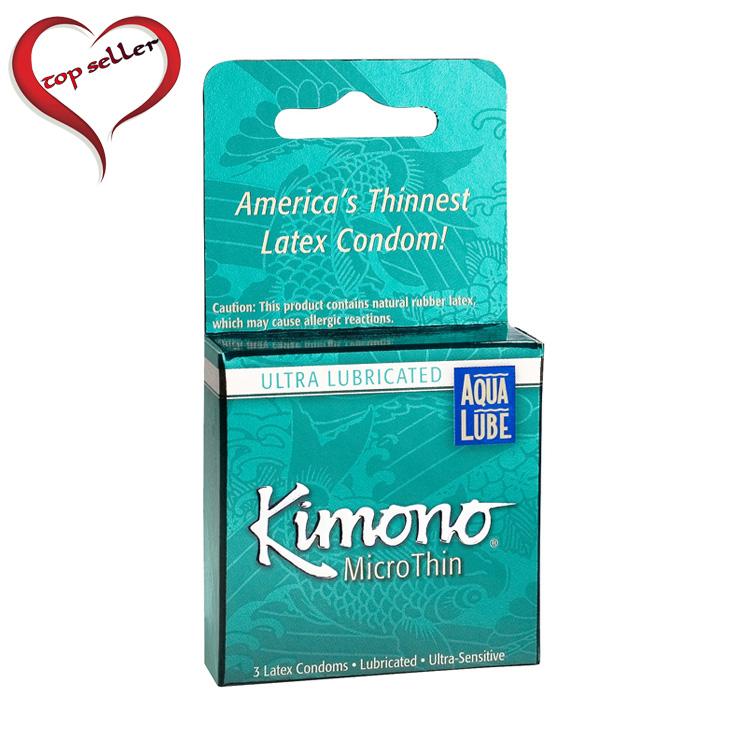 M06003 Kimono Micro Thin Condom with Aqua Lube 3 Pack