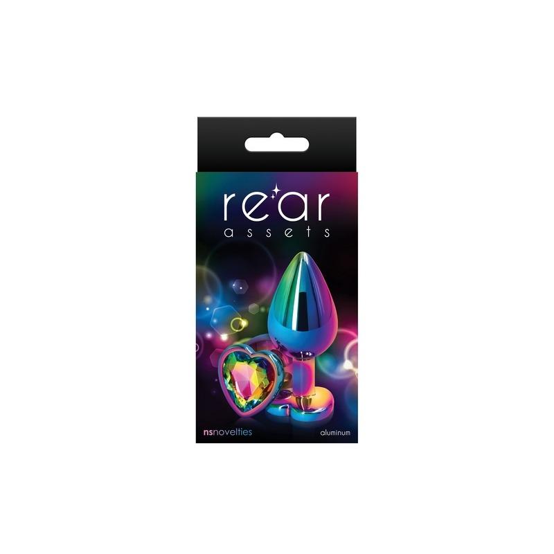NSN0962-29 NS Novelties Rear Assets Multicolor Heart Medium Rainbow