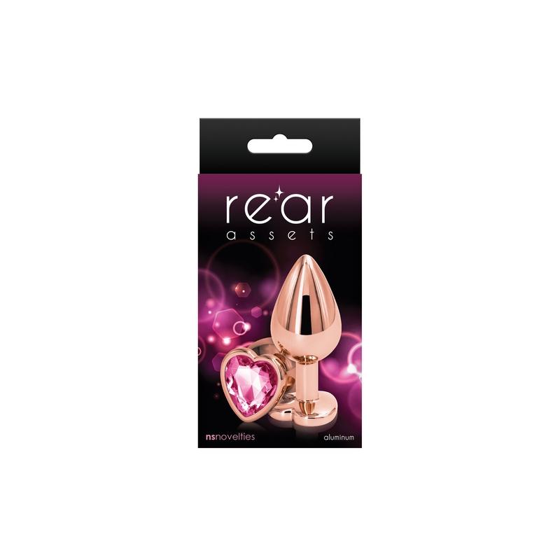NSN0963-24 NS Novelties Rear Assets Rose Gold Heart Medium Pink