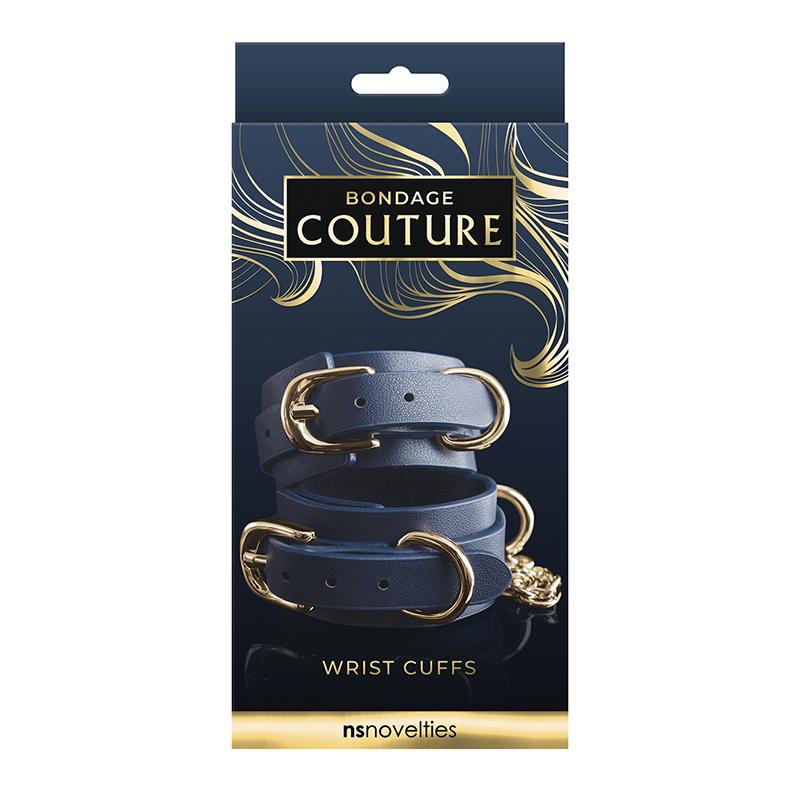 NSN1306-37 NS Novelties Bondage Couture Wrist Cuff Blue