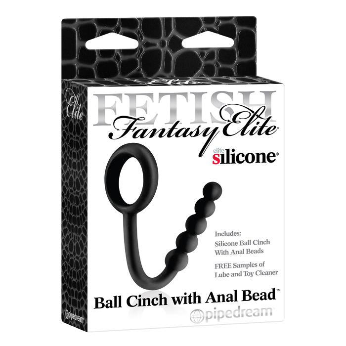 PD4573-23 Pipedream Products Fetish Fantasy Elite Ball Cinch with Anal Bead Black