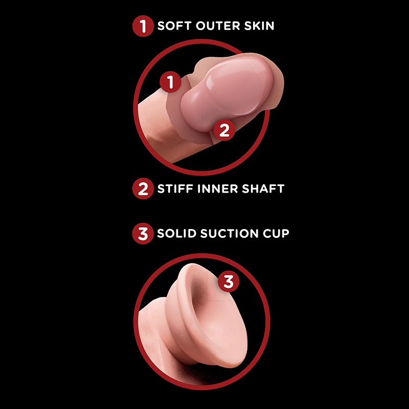 """PD5729-21 Pipedream Products King Cock Plus 6"""" Triple Density Cock With Swinging Balls"""