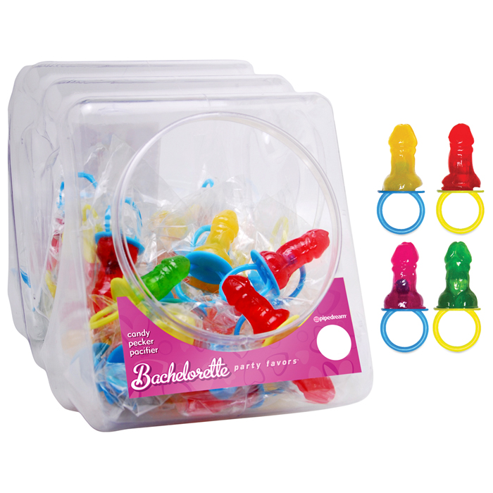PD7428-99  Pipedream Products Bachelorette Party Favors Candy Pecker Pacifier (Display of