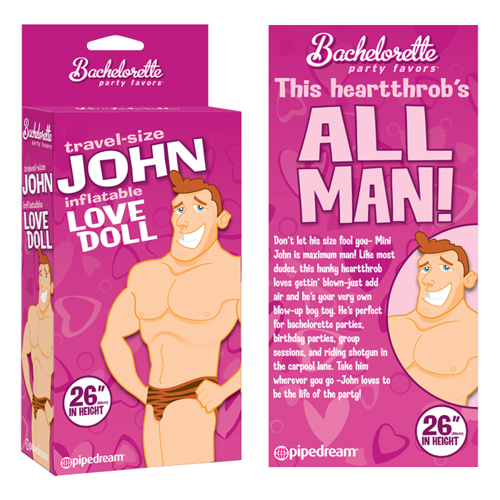PD8614-00 Pipedream Products  Bachelorette Party Favors Travel Size John Blow Up Doll