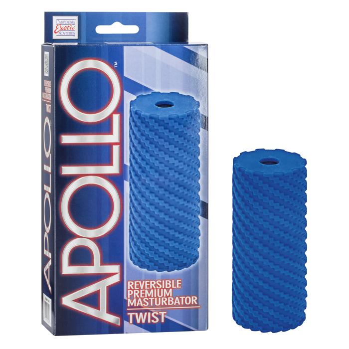 SE0957-10-3 California Exotics Apollo Reversible Premium Masturbator Twist Blue