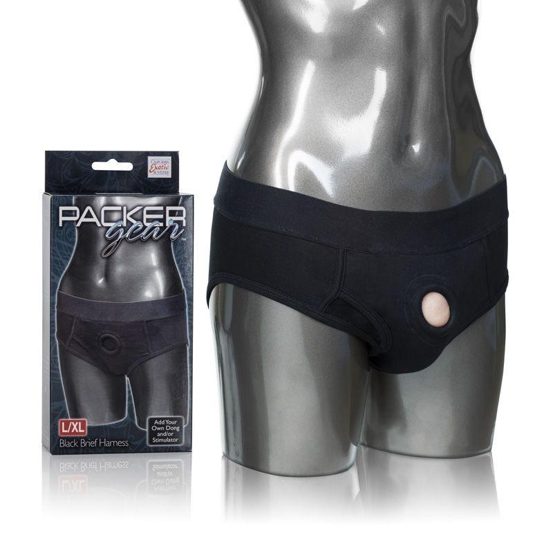 SE1575-15-3 California Exotics Packergear Black Brief Harness L/XL