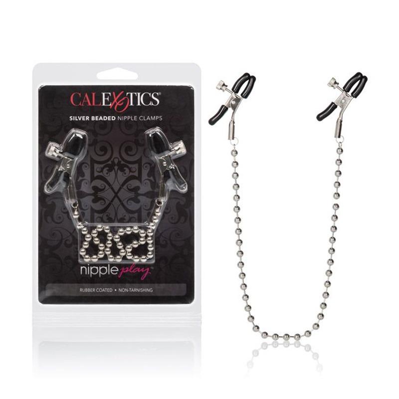 SE2610-10 CL California Exotics Nipple Chain Silver Beaded