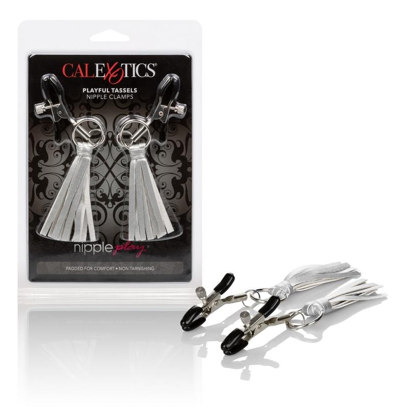 SE2614-10-2 California Exotics  Playful Tassels Nipple Clamps Silver