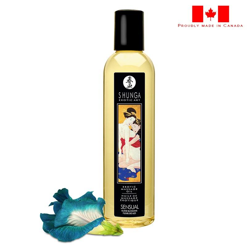 SH1024 Shunga 8 oz. Erotic Massage Oil Sensual Island Blossom