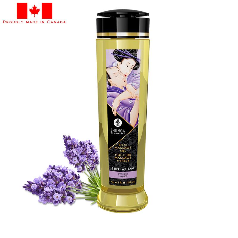 SH1206 Shunga 8 oz. Erotic Massage Oil Sensation Lavender