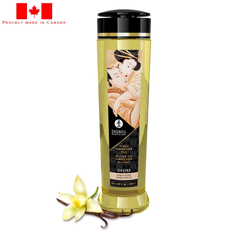 SH1207 Shunga 8 oz. Erotic Massage Oil Desire Vanilla