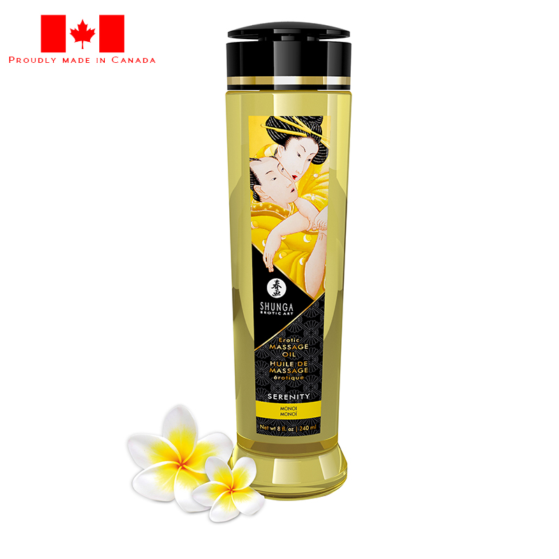 SH1213 Shunga 8 oz. Erotic Massage Oil Serenity Monoi