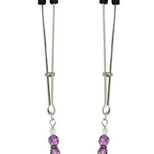 70031 Spartacus Nipple Clips Tweezer Style with Purple BeadsSPF-106